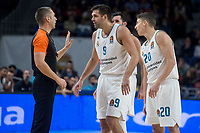 Real Madrid Felipe Reyes, Rudy Fernandez and Jaycee Carroll talking with the referee during Turkish Airlines Euroleague match between Real Madrid and Crvena Zvezda at Wizink Center in Madrid, Spain. December 01, 2017. (ALTERPHOTOS/Borja B.Hojas)