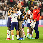 August 01 2021 Las Vegas, NV USA   USA Head Coach Gregg Berhalter Celebrate on the field with his players after USA scores a goal during the Concacaf Gold Cup USA vs Mexico. USA won in extra-time 1-0 at Allegiant Stadium Las Vegas NV  Thurman James / CSM