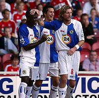 Fotball<br /> Premier League<br /> Middlesbrough v Blackburn<br /> 23.09.2006<br /> Foto: imago/Digitalsport<br /> NORWAY ONLY<br /> <br /> Torjubel Blackburn, v.li.: Shabandi Nonda, Morten Gamst Pedersen und Robbie Savage