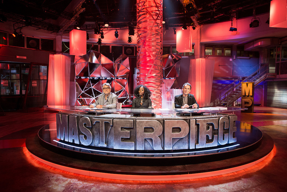"""TURIN, ITALY - 23 October 2013: (L-R) Jurors of talent show Masterpiece Giancarlo De Cataldo (57), Taiye Selasi (34) and Andrea De Carlo (61) sit at their jurors' desk at the state TV Rai studios in Turin, Italy, on October 23rd 2013.<br /> <br /> Masterpiece is the first talent show for aspiring writers, produced by Rai and FremantleMedia.  The show's objective is to find new talents in Italian literature. 4,919 manuscripts were sent to the program and 80 have been selected for the final selections that will be broadcasted from the Masterpiece studio at the RAI headquarters of Turin starting November 17th on Rai3 national TV. The winner will have his novel co-distributed by RCS and Bompiani, two Italian publishers. <br /> <br /> The jury is composed of Andrea De Carlo (a Milan based author of 17 novels among which is """"Due di due""""), Giancarlo De Cataldo (magistrate, screenwriter and author of """"Romanzo Criminale"""") and Taiye Selasi, author of TBK."""