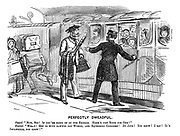 """Perfectly Dweadful. Guard. """"Now, sir! If you're going on by express. Here's just room for one!"""" Tourist. """"Wha-t! Get in with hawwid old women, and squeeming children! By jove! You know! I say! It's inpawsible, you know!"""""""