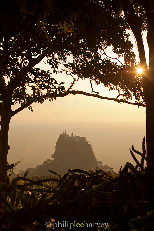Taung Kalat Buddhist monastery perched atop a volcanic plug near Mount Popa, an extinct volcano near the ancient city of Bagan, Myanmar