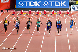 2019 IAAF World Athletics Championships held in Doha, Qatar from September 27- October 6<br /> Day 2<br /> men 100 final Canada USA South Africa GBR Jamaica Italy