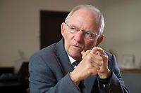 23 FEB 2016, BERLIN/GERMANY:<br /> Wolfgang Schaeuble, CDU, Bundesfinanzminister, waehrend einem Interview, in seinem Buero, Bundesministerium der Finanzen<br /> IMAGE: 20160223-01-002<br /> KEYWORDS: Wolfgang Schäuble