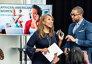 "WASHINGTON, DC -- 9/21/17 -- Congresswoman Maxine Waters hosts the unveiling of Nielsen's seventh annual Diverse Intelligence Series report on African-Americans at the Congressional Black Caucus Foundation annual conference. The 2017 report, ""African-American Women: Our Science, Her Magic"", details data and consumer insights on African-American women's consumer preferences and brand affinities that are driving total Black spending power toward a record $1.5 trillion by 2021..…by André Chung #_AC16613"