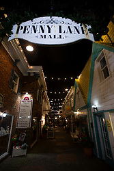 Christmas decor lights up the Penny Lane mall along Rehoboth Avenue, Monday, Nov. 26, 2018 in Rehoboth Beach, Del. (Photo by D. Ross Cameron)