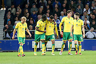GOAL/CELE  :  Josh Murphy of Norwich City (c) celebrates with his teammates after scoring his teams 2nd goal. EFL Cup, 3rd round match, Everton v Norwich city at Goodison Park in Liverpool, Merseyside on Tuesday 20th September 2016.<br /> pic by Chris Stading, Andrew Orchard sports photography.