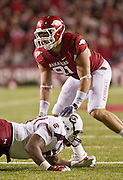 Nov 5, 2011; Fayetteville, AR, USA;  Arkansas Razorback defensive end Jake Bequette (91) avoids the tackle during a game against the South Carolina Gamecocks at Donald W. Reynolds Stadium.  Mandatory Credit: Beth Hall-US PRESSWIRE