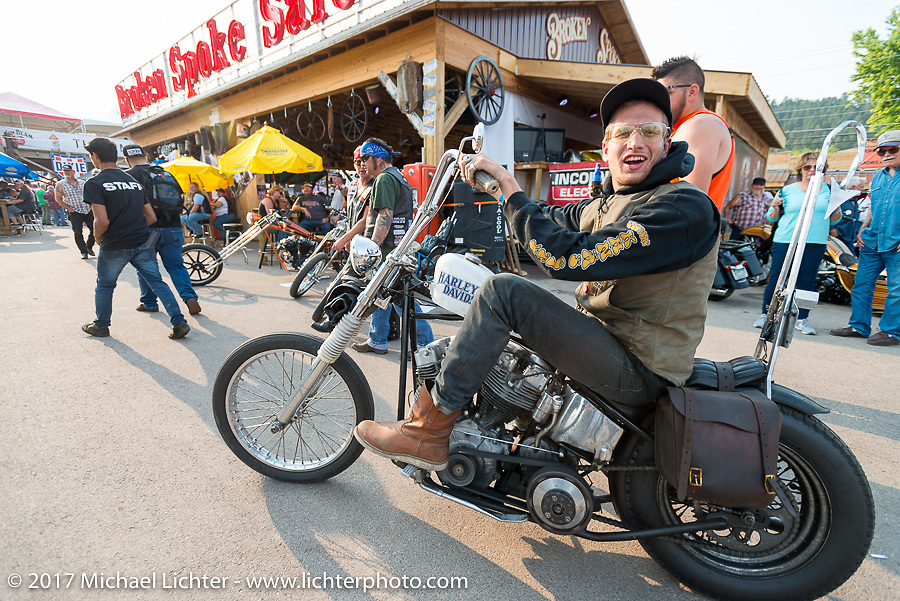 Pulling out after Mondo's Old School Denver's Choppers show at the Iron Horse Saloon during the Annual Sturgis Black Hills Motorcycle Rally. SD, USA. Saturday August 5, 2017.  Photography ©2017 Michael Lichter.
