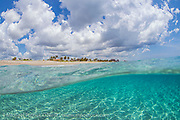The crystal clear waters of the Atlantic Ocean bathe the beach of Jupiter Island, Florida.