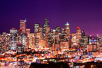 Seattle Skyline in Violet