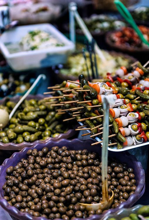 Olive vendor, El Rastro, Madrid, Spain.
