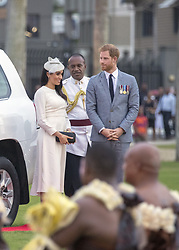 AU_1378063 - SUVA, FRENCH POYNESIA  - Prince Harry and Meghan Markle attend a ceremony in Albert Park in Suva, FIJI.<br /> <br /> Pictured: Prince Harry and Meghan Markle in Fiji<br /> <br /> BACKGRID Australia 22 OCTOBER 2018 <br /> <br /> Phone: + 61 2 8719 0598<br /> Email:  photos@backgrid.com.au