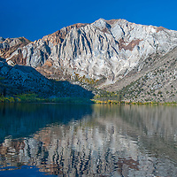 Laurel Mountain reflects in Convict Lake in the eastern Sierra Nevada near Mammoth Lakes, California.