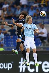 August 20, 2017 - Rome, Italy - Luca Mora of Spal and Dusan Basta of Lazio at Olimpico Stadium in Rome, Italy on August 20, 2017. (Credit Image: © Matteo Ciambelli/NurPhoto via ZUMA Press)