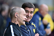 Burton Albion manager Nigel Clough speaks to fourth official Andy Woolmer during the EFL Sky Bet Championship match between Burton Albion and Ipswich Town at the Pirelli Stadium, Burton upon Trent, England on 28 October 2017. Photo by Richard Holmes.