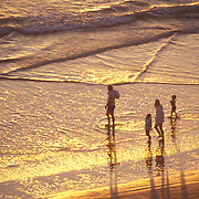 High angle view of a family walking on the beach through the waves at sunset. Del Mar, California.