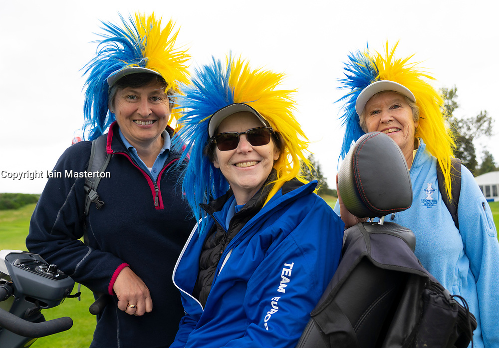 Auchterarder, Scotland, UK. 10 September 2019. Day one of the Junior Solheim Cup 2019 at the Centenary Course at Gleneagles. Tuesday Morning Foursomes. Pictured . Europe supporters with coloured wigs. Iain Masterton/Alamy Live News