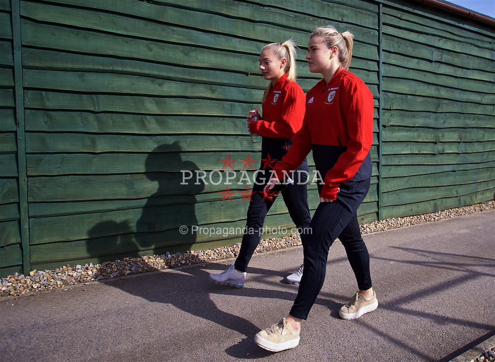 SOUTHAMPTON, ENGLAND - Friday, April 6, 2018: Wales' Charlie Estcourt and Alice Griffiths during a pre-match walk at the Marriott Meon Valley Hotel & Country Club ahead of the FIFA Women's World Cup 2019 Qualifying Round Group 1 match between England and Wales. (Pic by David Rawcliffe/Propaganda)