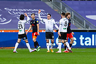 GOAL 1-0 Swansea City's Connor Roberts (23) celebrates scoring the opening goal with his team mates during the EFL Sky Bet Championship match between Swansea City and Luton Town at the Liberty Stadium, Swansea, Wales on 5 December 2020.
