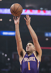 November 28, 2018 - Los Angeles, California, U.S - Devin Booker #1 of the Phoenix Suns takes a shot during their NBA game with the Los Angeles Clippers  on Wednesday November 28, 2018 at the Staples Center in Los Angeles, California. Clippers vs Suns. (Credit Image: © Prensa Internacional via ZUMA Wire)