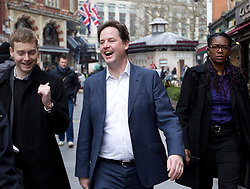 © Licensed to London News Pictures. 28/03/2013. London, UK. The British Deputy Prime Minister, Nick Clegg, is seen leaving the headquarters of radio station LBC (London's Biggest Conversation) after taking part in his 'Call Clegg' phone in show in London today ({date)). Photo credit: Matt Cetti-Roberts/LNP