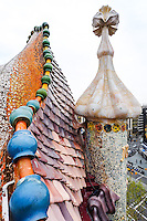 Spain, Barcelona. Casa Batlló is one of Antoni Gaudí's masterpieces. The roof with the dragon back