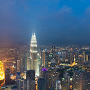 Kuala Lumpur skyline panorama at night