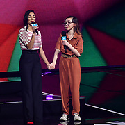 Nicole Scherzinger and Nikki Christou On stage attend WE Day UK at Wembley Arena, London, Uk 6 March 2019.