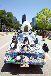 Stock photo of a South pole themed car with igloo and penguins
