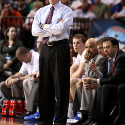 Mar 17, 2011; Tampa, FL, USA; Florida Gators head coach Billy Donovan  during second half of the second round of the 2011 NCAA men's basketball tournament against the UC Santa Barbara Gauchos at the St. Pete Times Forum. Florida defeated UCSB 79-51.  Mandatory Credit: Derick E. Hingle