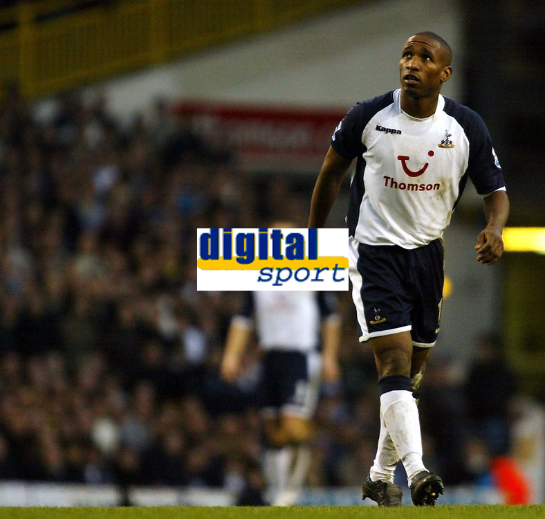 Photo: Chris Ratcliffe.<br />Tottenham Hotspur v Aston Villa. The Barclays Premiership. 21/01/2006.<br />Jermaine Defoe looks to the skies after another disappointing performance for Spurs.