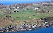 Farmhouses on headland, South Harbour, Cape Clear Island, County Cork, Ireland, Irish Republic