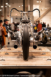 The Birdcage, an artful custom that utilizes BMW's new big boxer engine purported to be 1,800 cc (BMW will not confirm this yet) on display. It was designed and built by Alan Stulberg with his team at Revival Cycles Austin. It was their intent to have an open design so the powerplant can be seen from every angle. Handbuilt Show. Austin, Texas USA. Saturday, April 13, 2019. Photography ©2019 Michael Lichter.