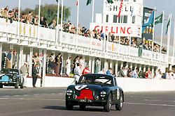 Rowan Atkinson driving a 1951 Aston Martin DB2