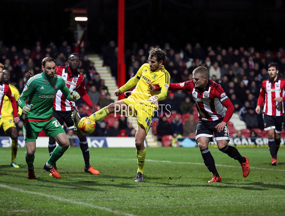 Middlesbrough striker Christian Stuani causing havoc in the box during the Sky Bet Championship match between Brentford and Middlesbrough at Griffin Park, London, England on 12 January 2016. Photo by Matthew Redman.
