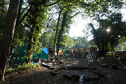 Denham, UK. 29th September, 2020. A section of Denham Protection Camp, which was established by anti-HS2 activists. Environmental activists continue to try to prevent or delay works for the HS2 high-speed rail link from a series of such protection camps located along the route of the line between London and Birmingham.