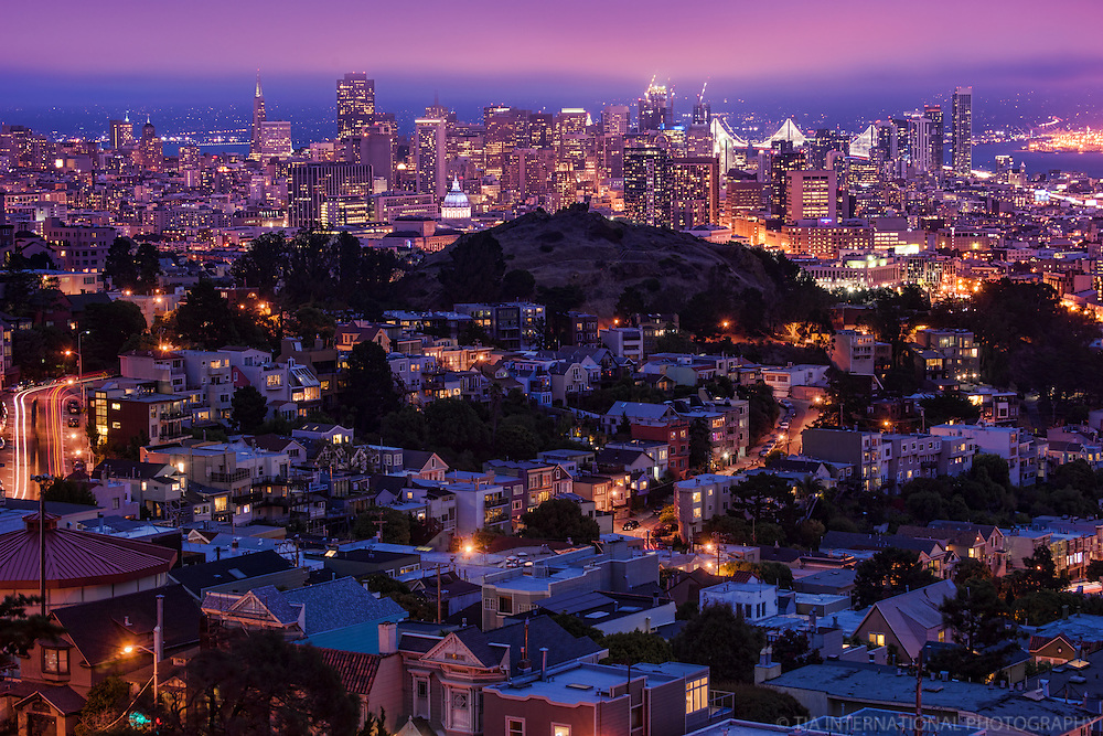 San Francisco Skyline and Rooftops from Tank Hill
