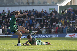 March 2, 2019 - Galway, Ireland - Kyle Godwin of Connacht kicks a conversion during the Guinness PRO 14 match  between Connacht Rugby and Ospreys at the Sportsground in Galway, Ireland on March 2, 2019  (Credit Image: © Andrew Surma/NurPhoto via ZUMA Press)