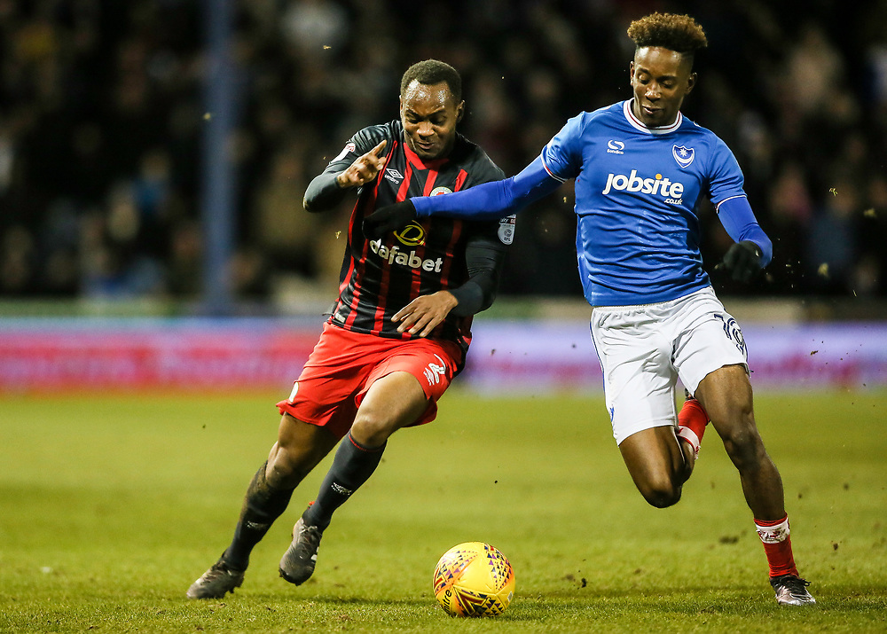 Blackburn Rovers' Ryan Nyambe competing with Portsmouth's Jamal Lowe <br /> <br /> Photographer Andrew Kearns/CameraSport<br /> <br /> The EFL Sky Bet League One - Portsmouth v Blackburn Rovers - Tuesday 13th February 2018 - Fratton Park - Portsmouth<br /> <br /> World Copyright © 2018 CameraSport. All rights reserved. 43 Linden Ave. Countesthorpe. Leicester. England. LE8 5PG - Tel: +44 (0) 116 277 4147 - admin@camerasport.com - www.camerasport.com