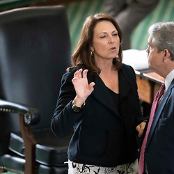 Texas Senate action on Tuesday, May 18, 2021 showing Sen. Angela Paxton, R-McKinney, talking with Sen. Larry Taylor, R-Friendswood.