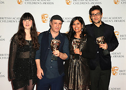 (left to right) Molly Bond, Andy Glynne, Nandita Jain and Salvador Maldonado with the Learning-Primary award for I Can't Go To School Today at the British Academy Children's Awards, at the Roundhouse in Camden, north London.