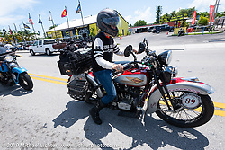 Cris Sommer-Simmons arriving in Key West on her 1934 Harley-Davidson VD in the Cross Country Chase motorcycle endurance run from Sault Sainte Marie, MI to Key West, FL. (for vintage bikes from 1930-1948). Stage-10 covered 110 miles from Miami to the finish in Key West, FL USA. Sunday, September 15, 2019. Photography ©2019 Michael Lichter.