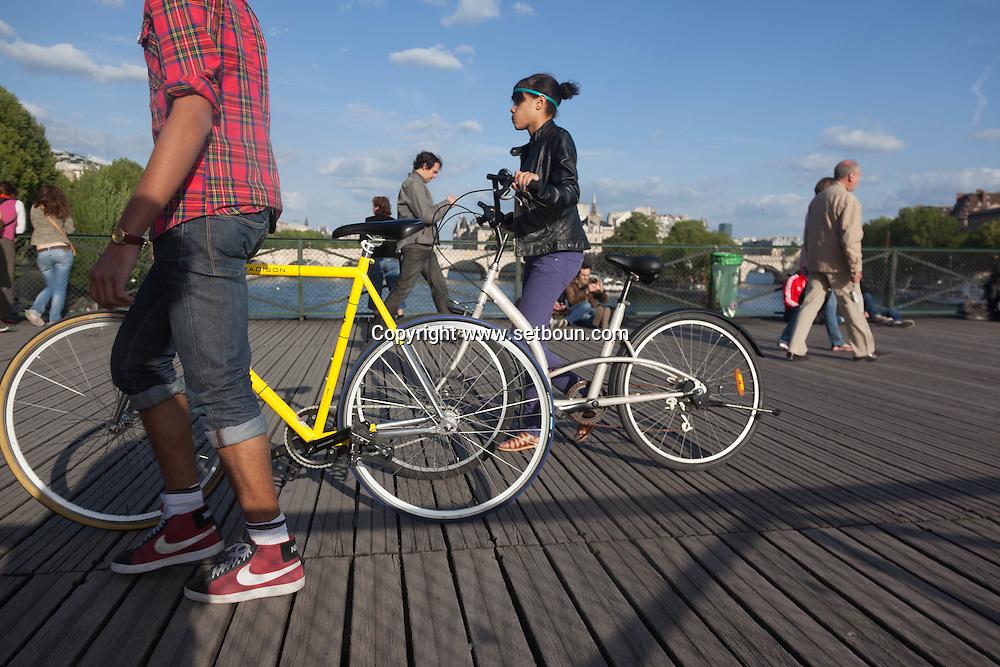 France. Paris. 1st district. the pont des arts on the Seine river   / le pont des arts sur la Seine