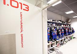 Jerseys in Slovenian wardrobe prior to the ice-hockey match between Slovenia and Latvia of IIHF 2011 World Championship Slovakia, on May 5, 2011 in Orange Arena, Bratislava, Slovakia.  (Photo By Vid Ponikvar / Sportida.com)