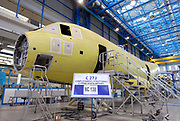 Assembly line of the turboprop aircraft C-27J in Alenia Aeronautica's plant, at Pomigliano D'Arco (Naples), Italy, on Wensday, Dec. 5, 2007. Photographer: Víctor Sokolowicz / Bloomberg News
