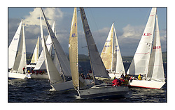 Yachting- The start of the Bell Lawrie Scottish series 2002 at Gourock racing overnight to Tarbert Loch Fyne where racing continues over the weekend.<br /><br />Blyth Spirit - X332 GBR6917T in front of class 3<br /><br />Pics Marc Turner / PFM