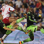 in action during the New York Red Bulls Vs Seattle Sounders, Major League Soccer regular season match at Red Bull Arena, Harrison, New Jersey. USA. 20th September 2014. Photo Tim Clayton
