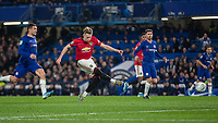Football - 2019 / 2020 EFL Carabao (League) Cup - Fourth Round: Chelsea vs. Manchester United<br /> <br /> Scott McTominay (Manchester United) drives his shot at the Chelsea goal at Stamford Bridge <br /> <br /> COLORSPORT/DANIEL BEARHAM