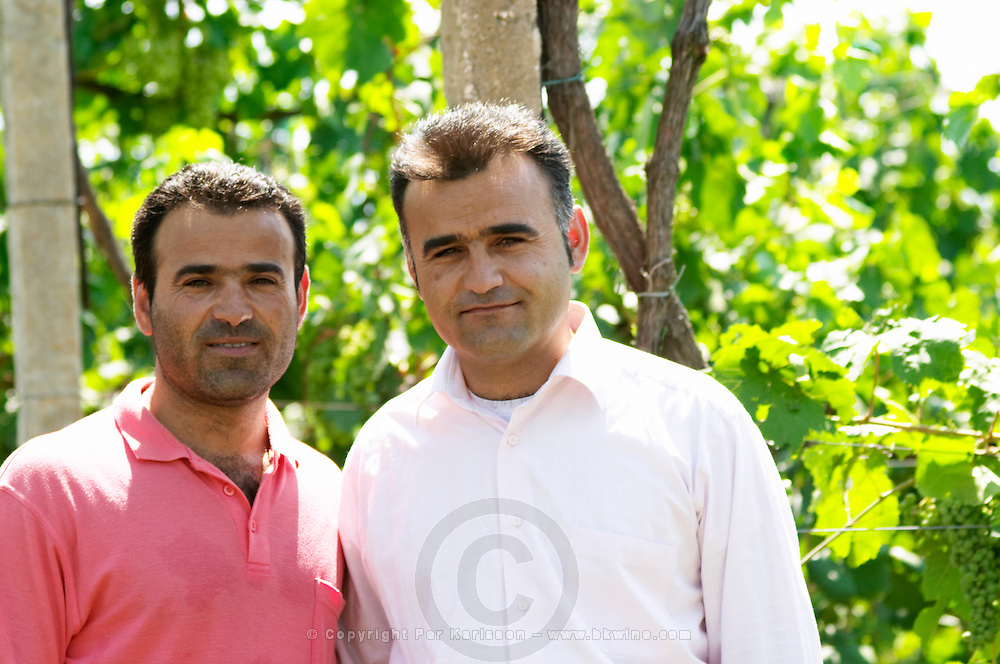 The two brothers Cobo, Petrit to the left who manages the winery. Cobo winery, Poshnje, Berat. Albania, Balkan, Europe.
